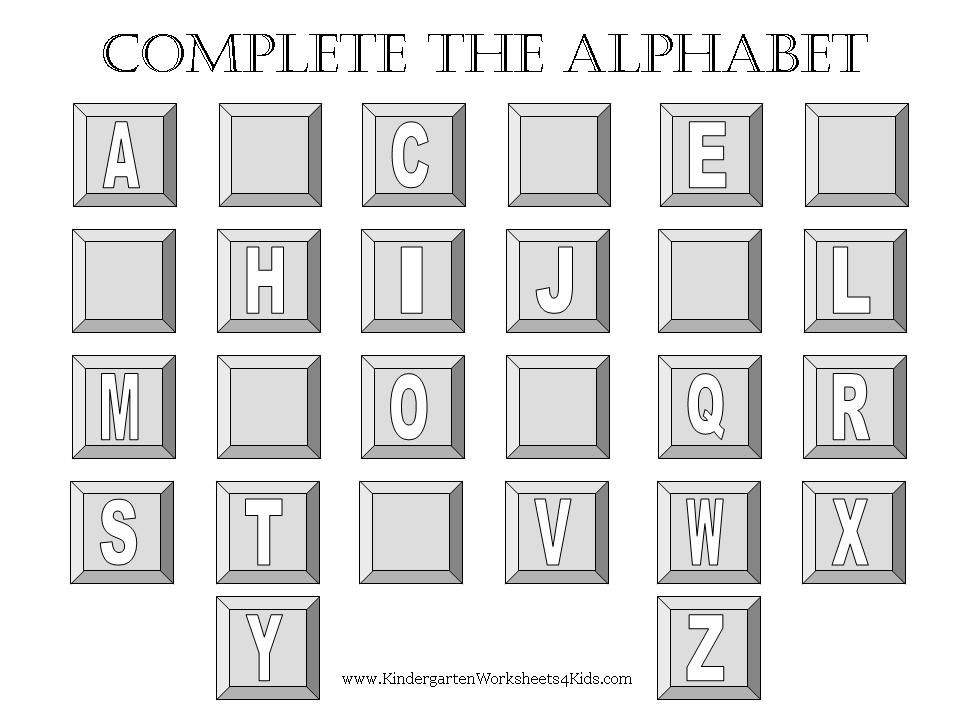 math worksheet : complete the alphabet worksheets : Free Kindergarten Letter Worksheets
