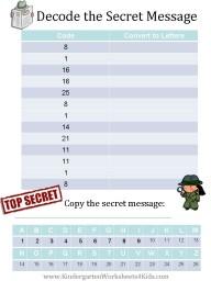 Secret code worksheet