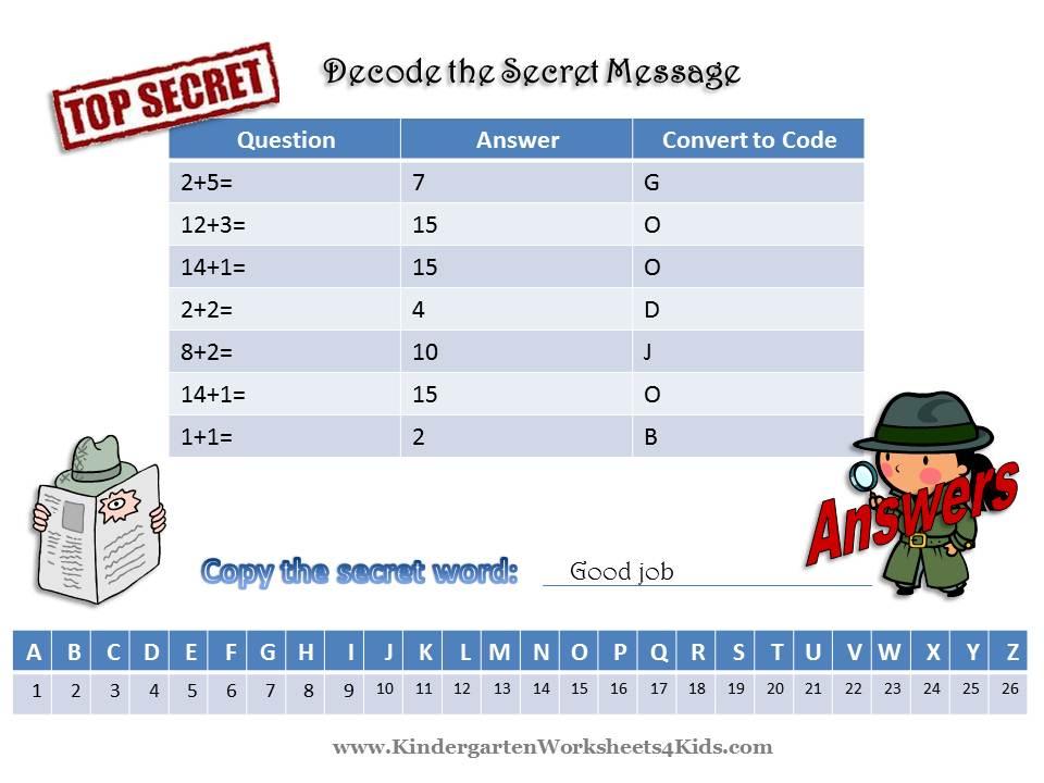 Math Worksheets with Secret Code