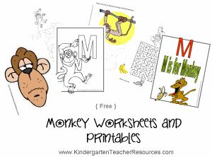 Monkey Kindergarten Worksheets
