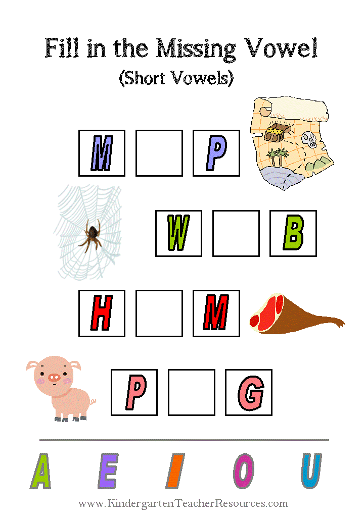 Short Vowel Kindergarten Worksheets