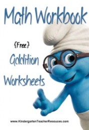 Math worksheets with Smurfs