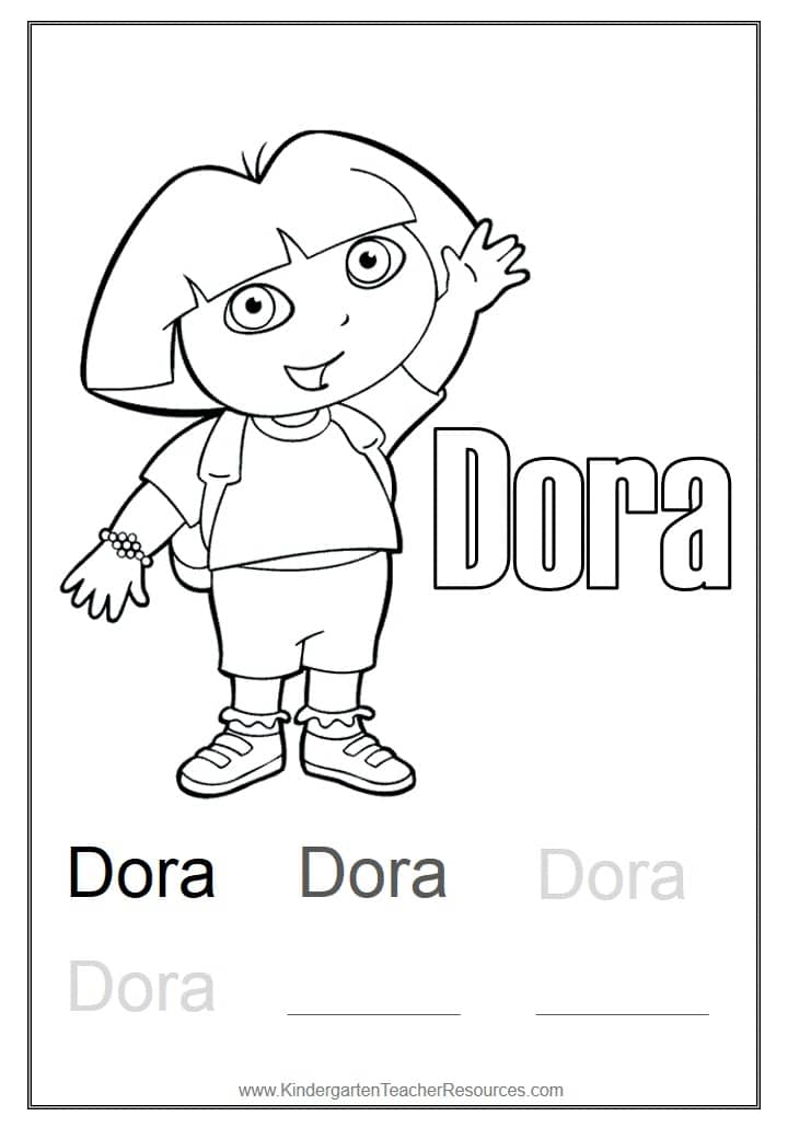Dora Coloring Page on kindergarten math addition worksheets