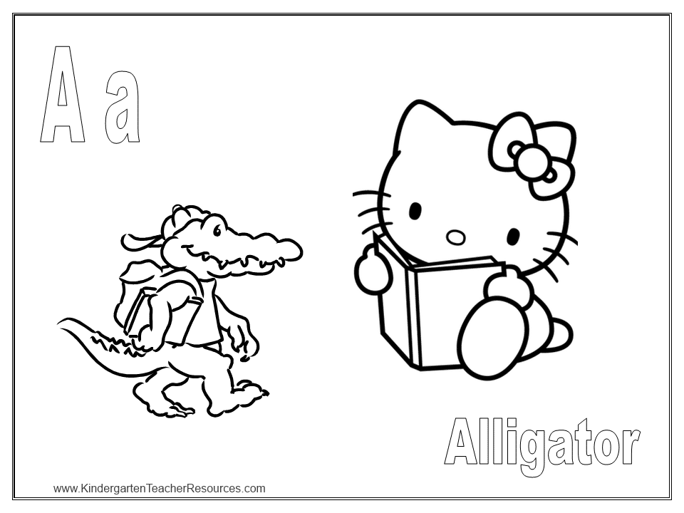 free hello kitty coloring pages - Letter A Alligator Coloring Pages
