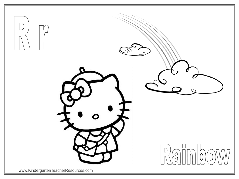 Letter D Coloring Pages For Toddlers Free Hello Kitty