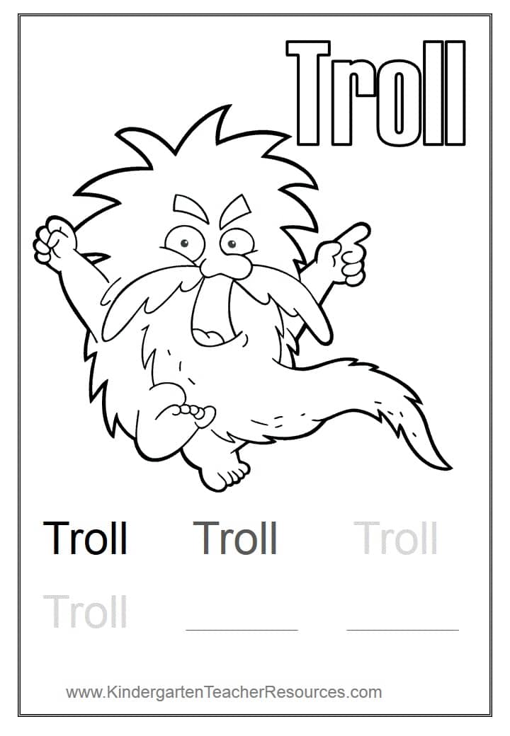 Troll Coloring Page on kindergarten math worksheets can go