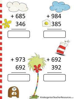 Dr Seuss Math Worksheets 3rd grade