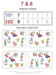 Free Spongebob kindergarten worksheets