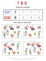 Free Spongebob kindergarten worksheets