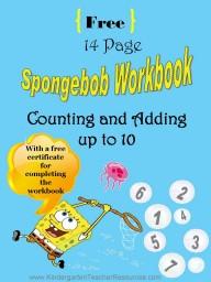 Spongebob kindergarten worksheets