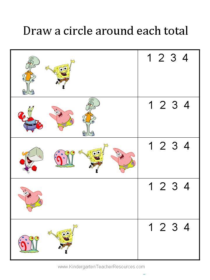 spongebob kindergarten worksheets 7