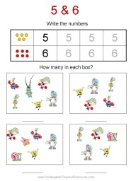 Spongebob number worksheets