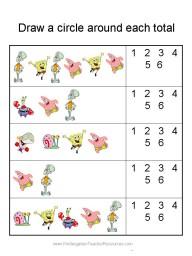Spongebob addition worksheets