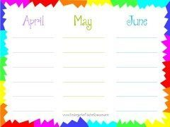 printable calendar for 3 month period