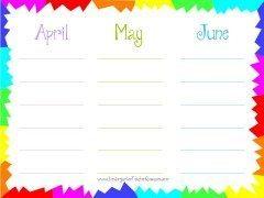 printable calendar for 3 month period