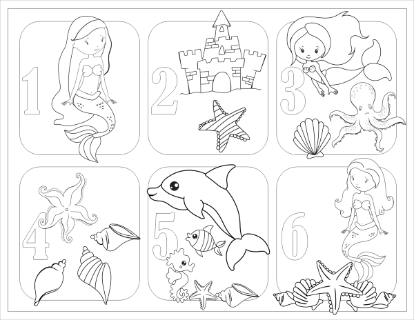 Mermaids and Unicorns number coloring page
